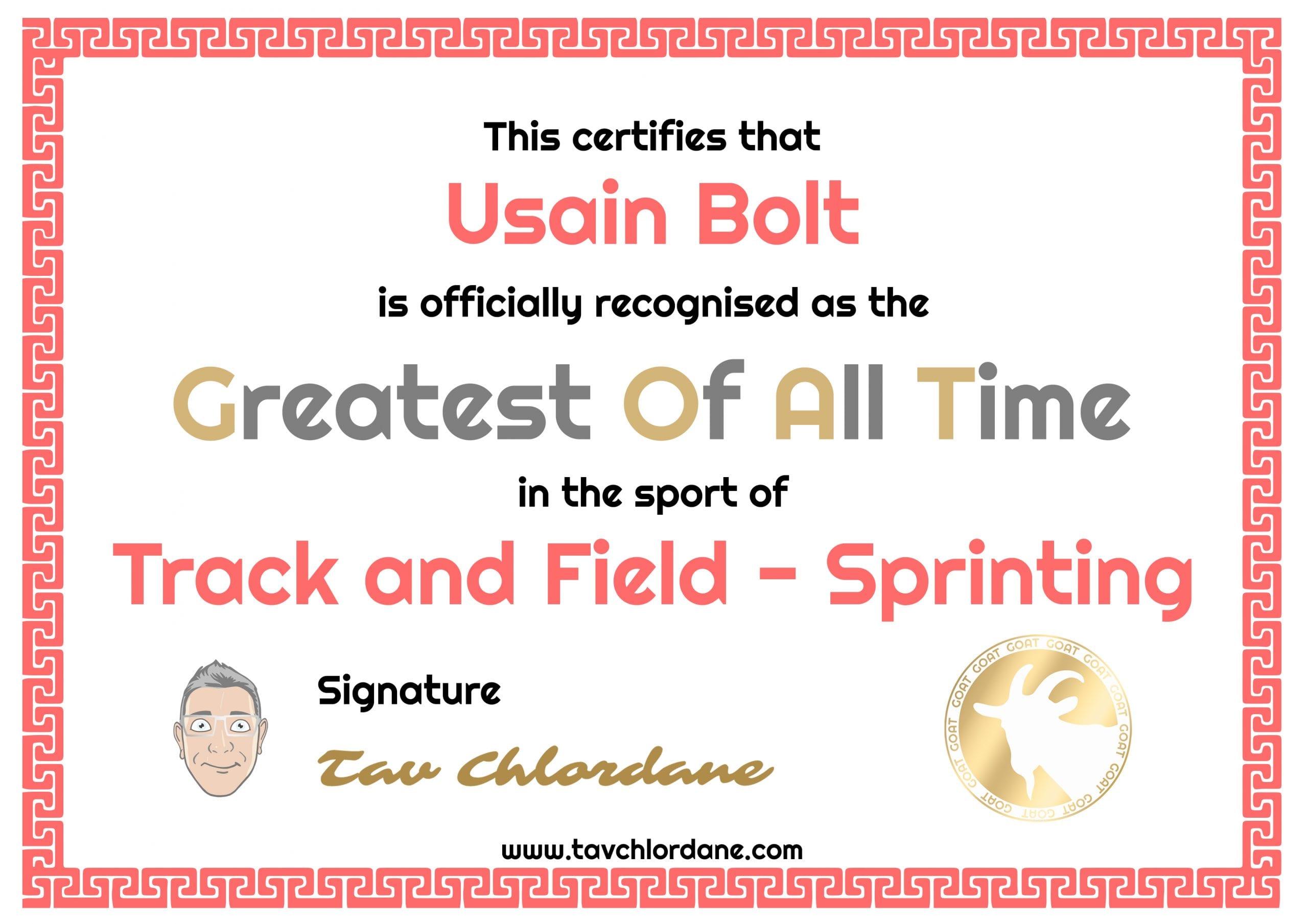 Greatest sprinter of all time Usain Bolt